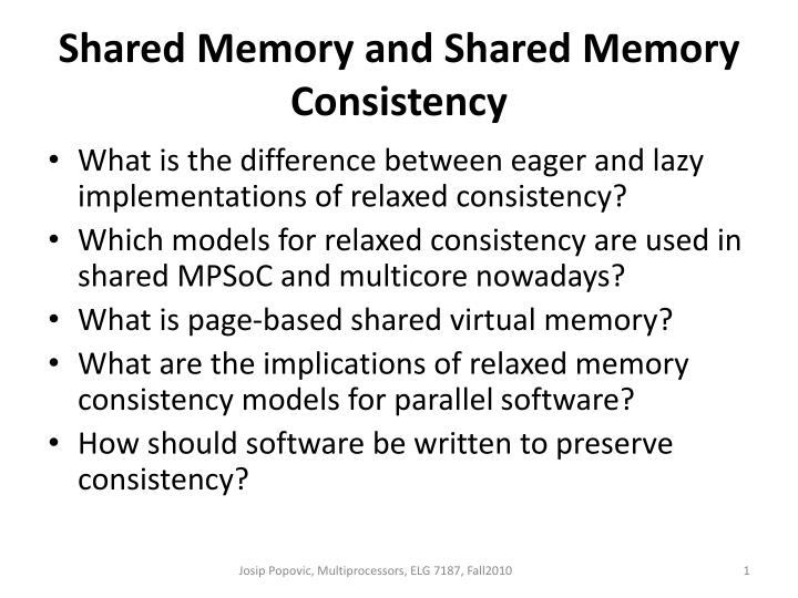 shared memory and shared memory consistency n.