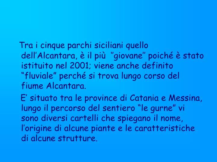 Tra i cinque parchi siciliani quello dell'Alcantara, è il più  ''giovane'' poiché è st...
