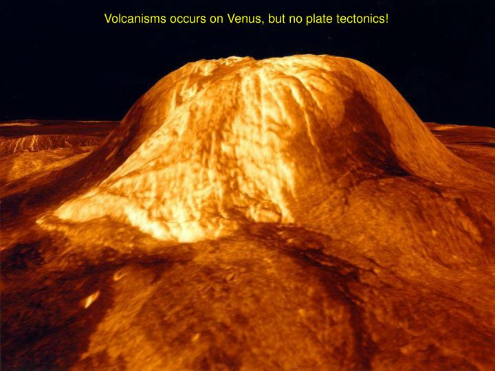 Volcanisms occurs on Venus, but no plate tectonics!