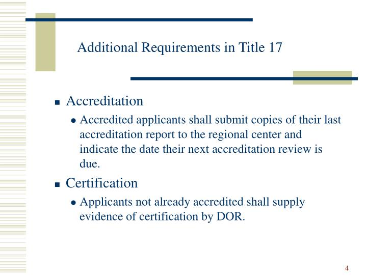 Additional Requirements in Title 17