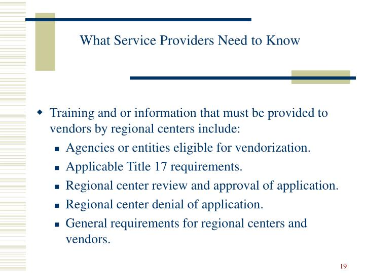 What Service Providers Need to Know