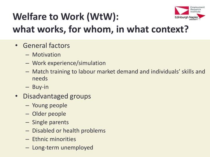 Welfare to Work (