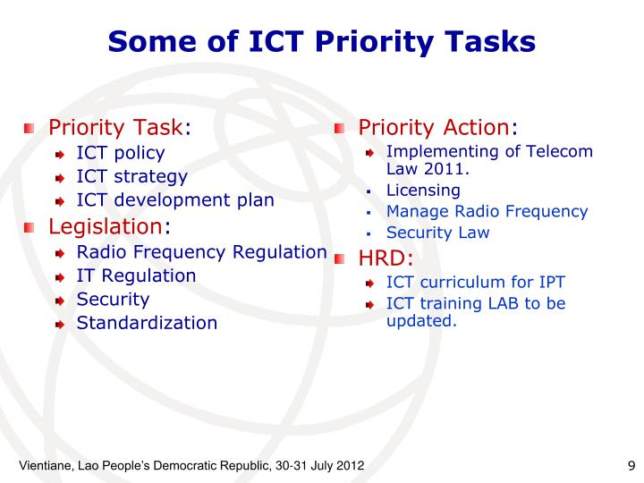 Some of ICT Priority Tasks