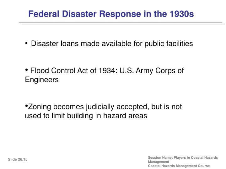 Federal Disaster Response in the 1930s