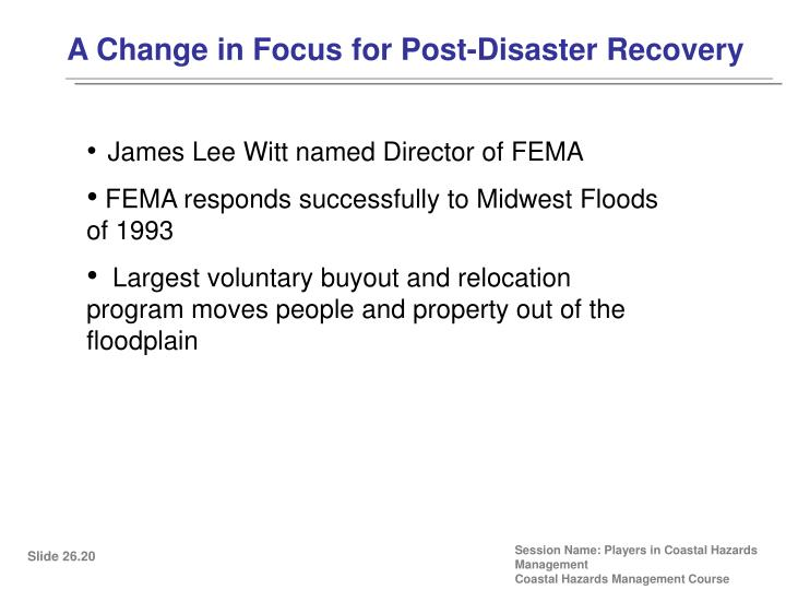 A Change in Focus for Post-Disaster Recovery