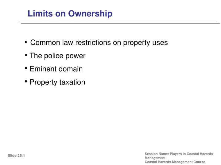 Limits on Ownership