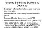 asserted benefits to developing countries