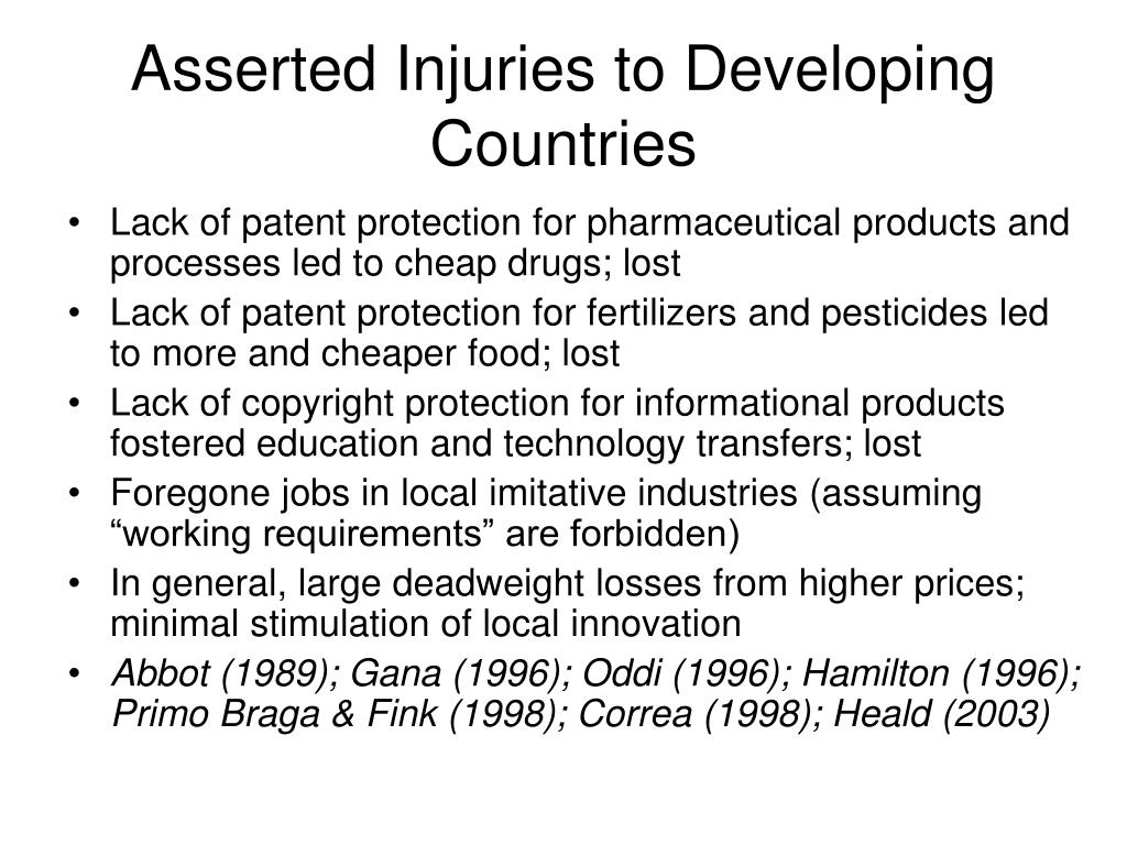 Asserted Injuries to Developing Countries