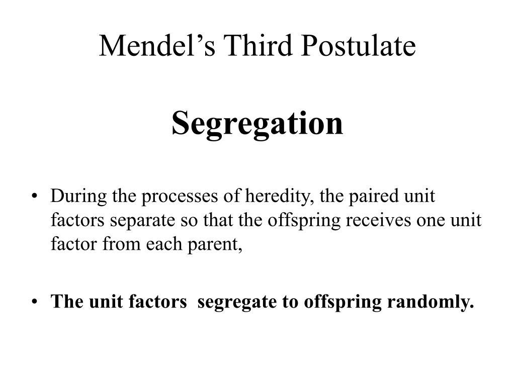 Mendel's Third Postulate