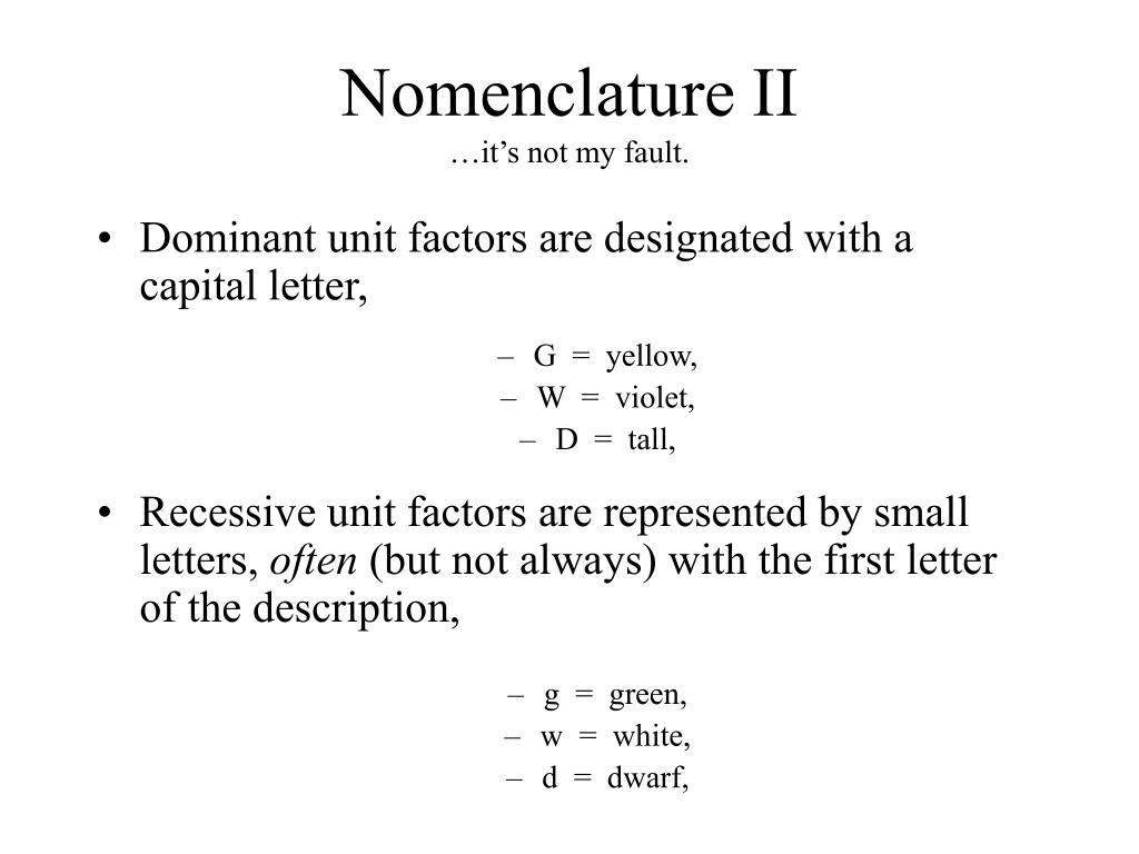 Nomenclature II