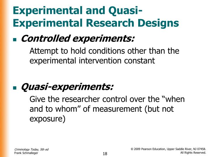 the difference between non- experimental, quasi-experimental, and research design. Experimental research is what most people consider being more scientific though non experimental does not mean that the research is unscientific by any means it is human nature to try to find out what happens when changes are introduced in variables.