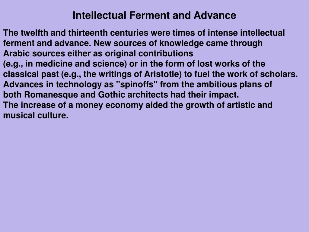 Intellectual Ferment and Advance