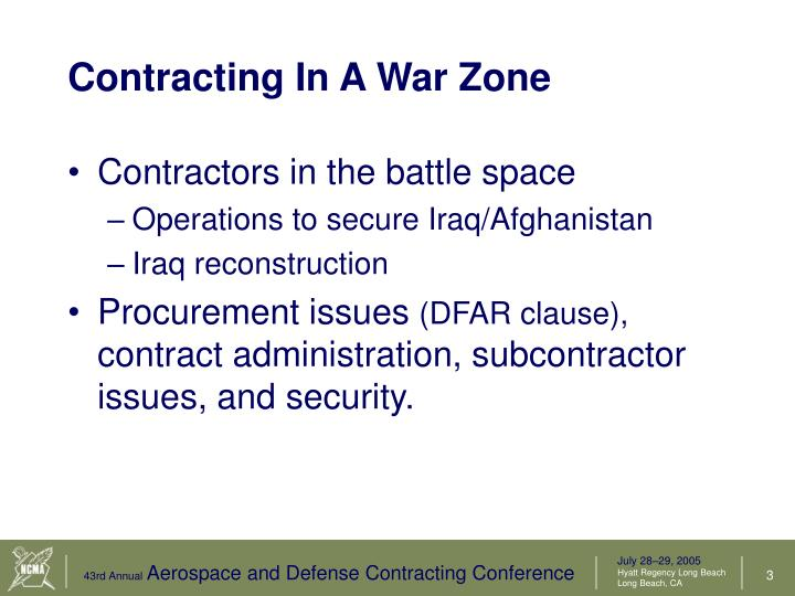 Contracting in a war zone