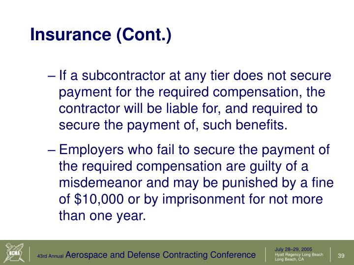 Insurance (Cont.)