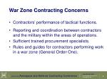 war zone contracting concerns