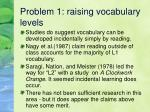 problem 1 raising vocabulary levels