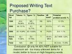 proposed writing text purchase