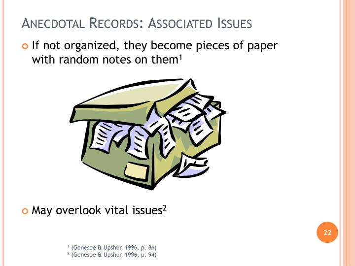 Anecdotal Records: Associated Issues
