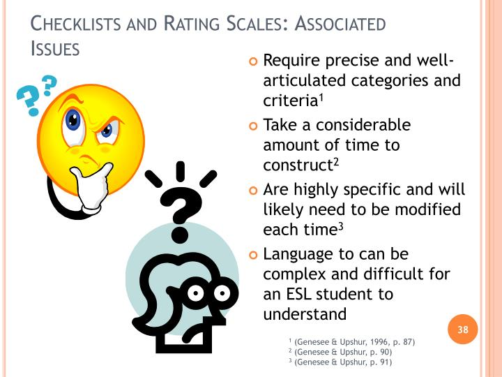 Checklists and Rating Scales: Associated Issues