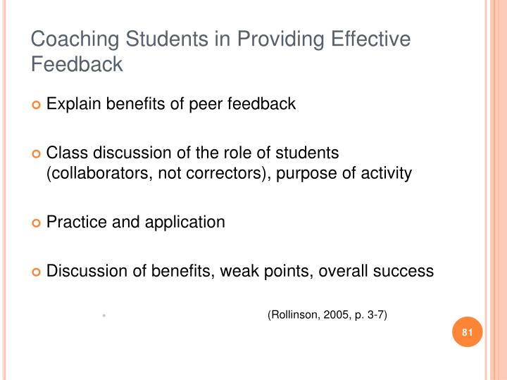 Coaching Students in Providing Effective Feedback