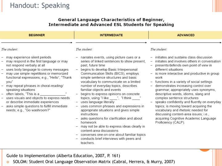 Handout: Speaking