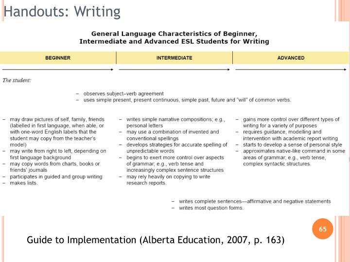 Handouts: Writing
