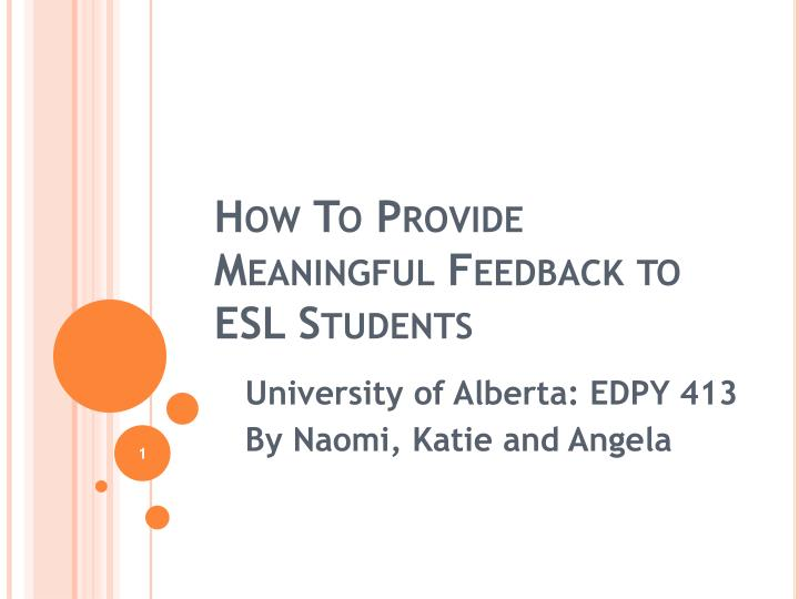 how to provide meaningful feedback to esl students n.