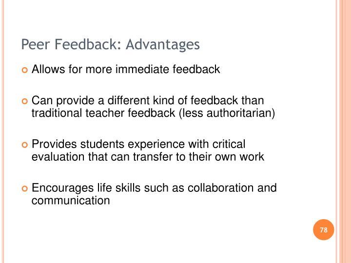 Peer Feedback: Advantages