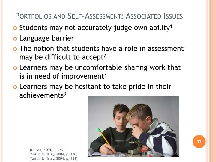 Portfolios and Self-Assessment: Associated Issues