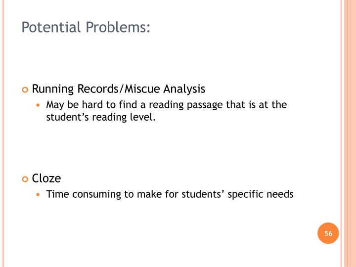 Potential Problems: