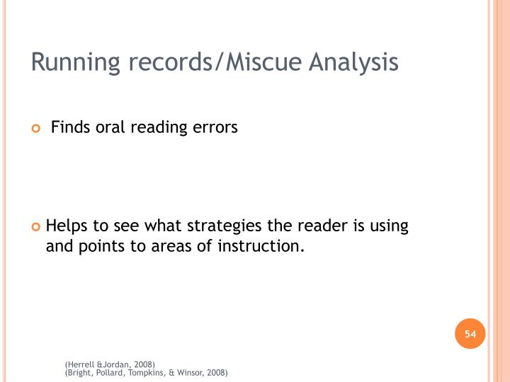 Running records/Miscue Analysis