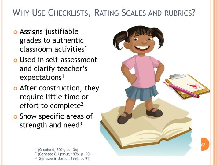 Why Use Checklists, Rating Scales and rubrics?