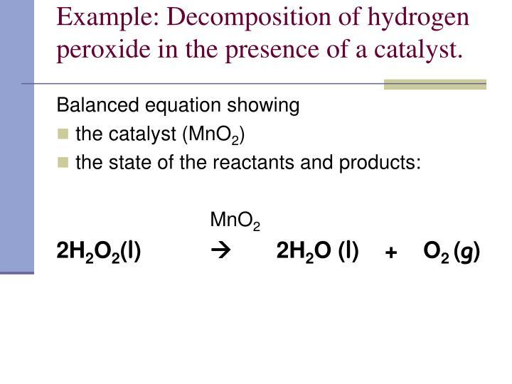 decomposition of hydrogen peroxide lab essay Free essay: kinetics of the decomposition of hydrogen peroxide lab introduction: in this week's lab experiment, the rate of decomposition of hydrogen.