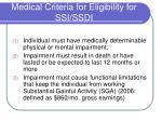 medical criteria for eligibility for ssi ssdi