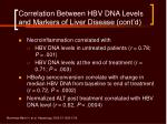 correlation between hbv dna levels and markers of liver disease cont d