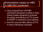 emtricitabine impact on hbv in hbv hiv coinfection