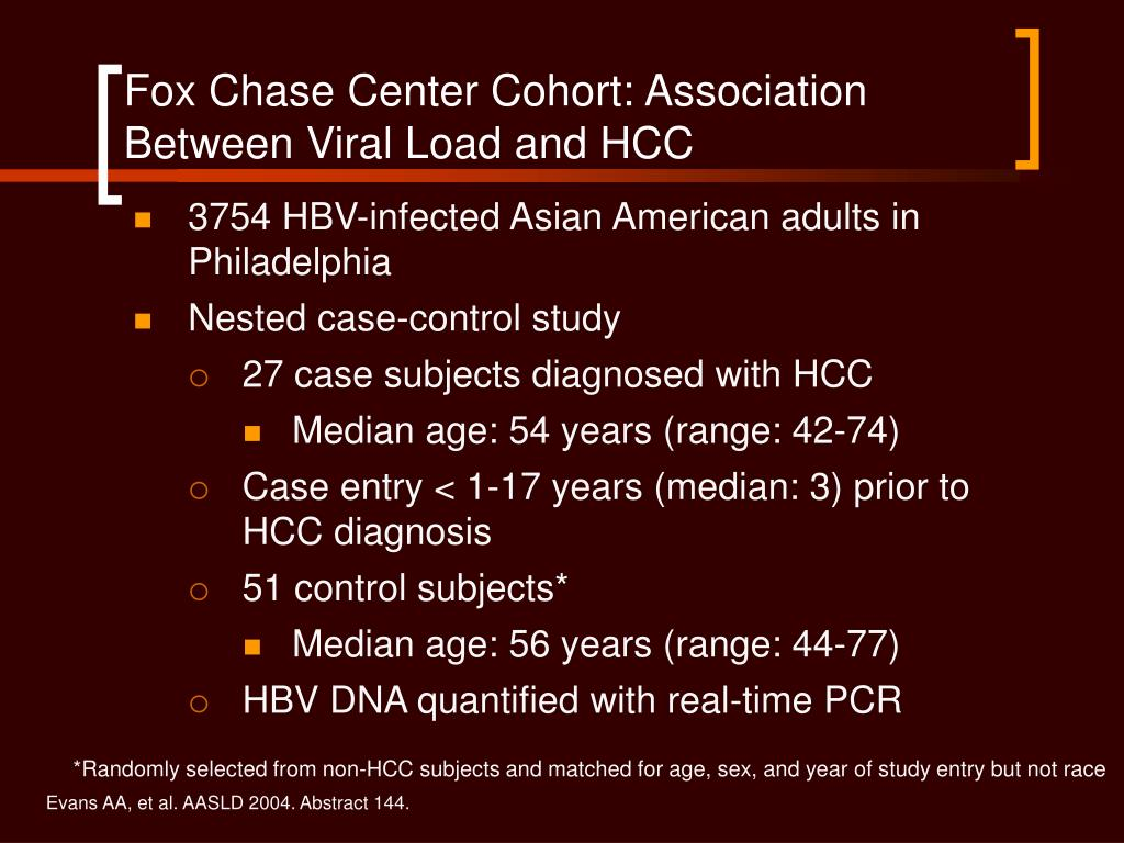 Fox Chase Center Cohort: Association Between Viral Load and HCC