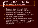 ftc and tdf for hiv hbv coinfected individuals
