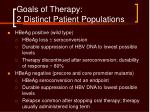 goals of therapy 2 distinct patient populations