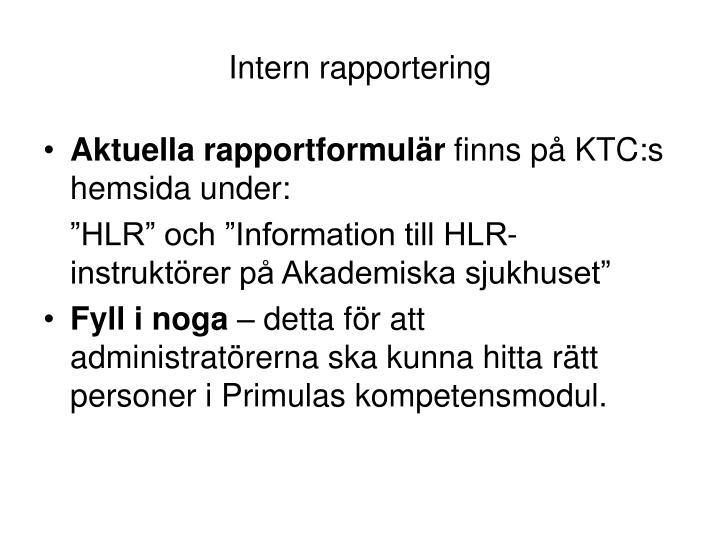 Intern rapportering