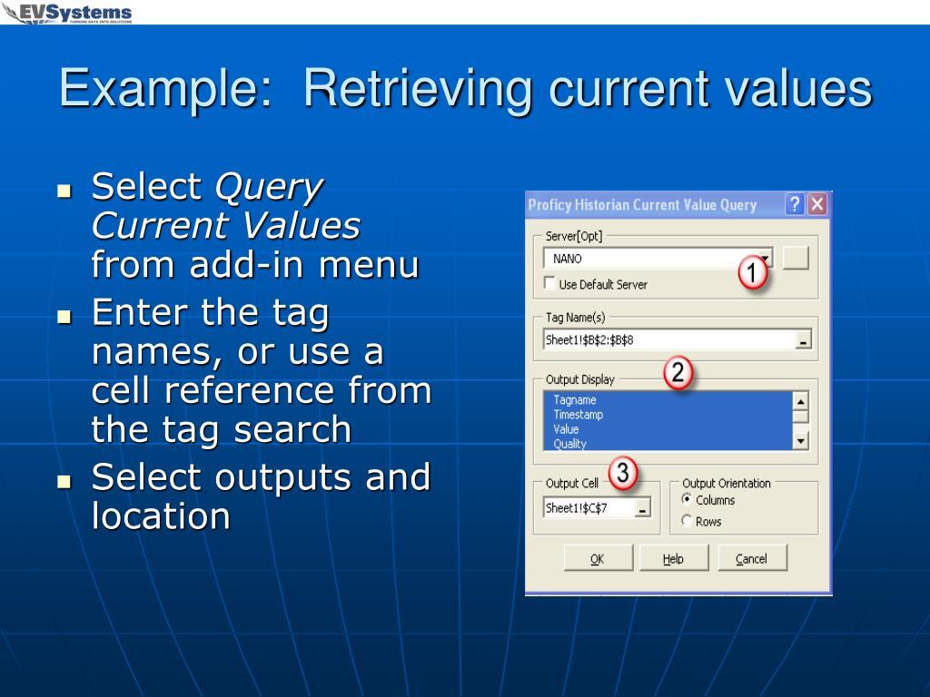 Example:  Retrieving current values