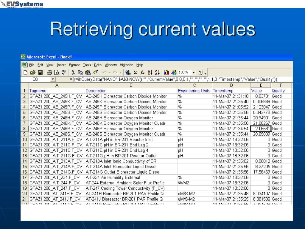 Retrieving current values