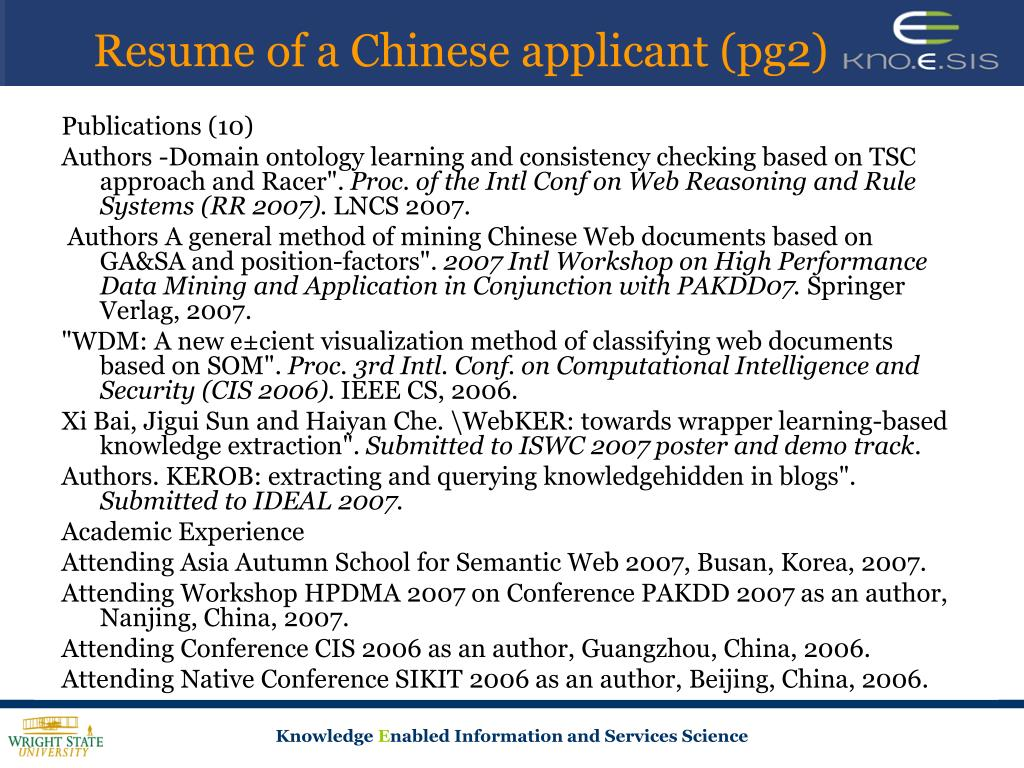 Resume of a Chinese applicant (pg2)