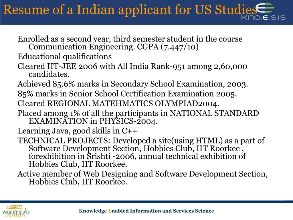 Resume of a Indian applicant for US Studies