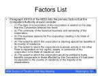factors list