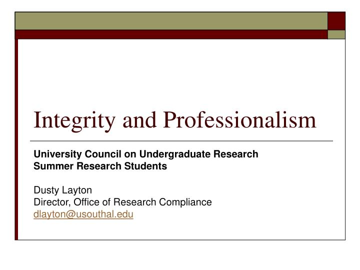integrity and professionalism n.