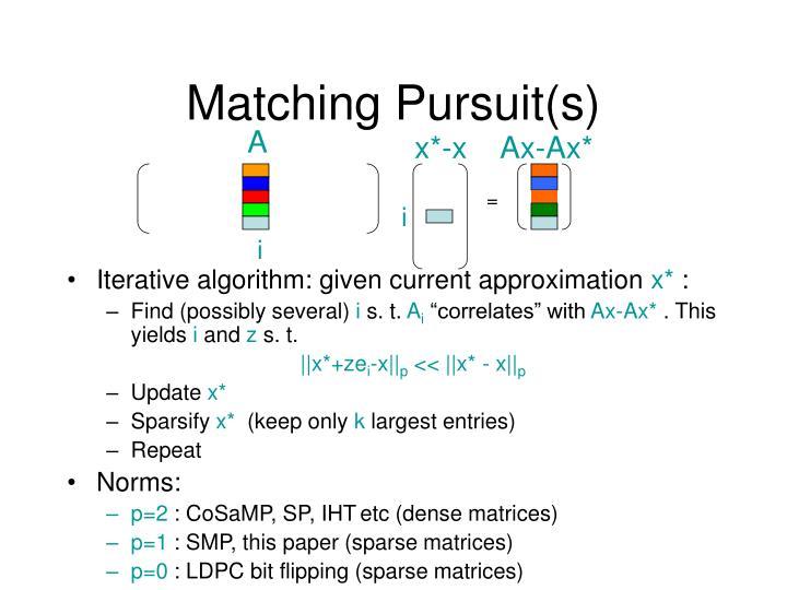 Matching Pursuit(s)