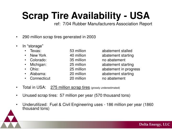 Scrap tire availability usa ref 7 04 rubber manufacturers association report