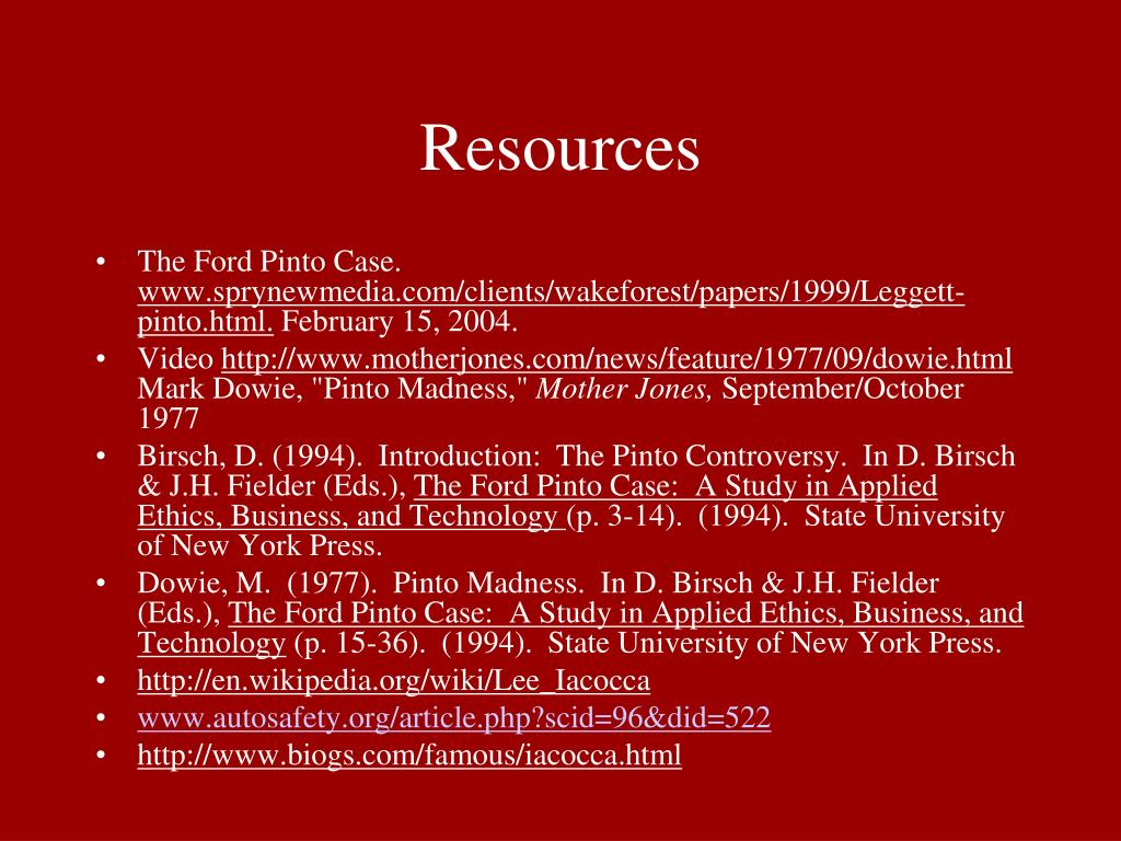 Ppt Ford Pinto Case Study Powerpoint Presentation Free Download