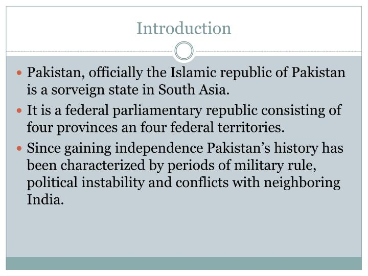 an introduction to the history of the republic of pakistan Auditor general of pakistan  articles of the constitution of islamic republic of  pakistan status of the auditor-general of pakistan and the audit department.